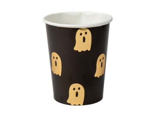 Black Paper Cups with Gold Ghosts (8pcs)