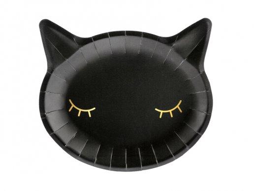 Μαύρη Γάτα Πιάτα Χάρτινα Με Σχήμα Είδη Πάρτυ (6τμχ)