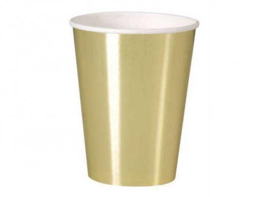 Χρυσό Μεταλλικό Χρώμα Μεγάλα Χάρτινα Ποτήρια (8τμχ)