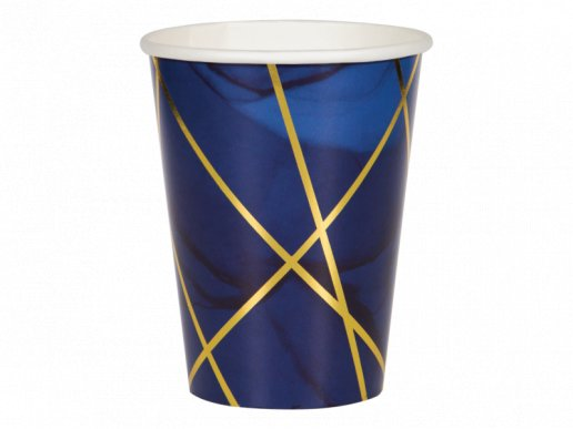 Large Paper Cups Navy Blue and Gold Birthday Party 8pcs