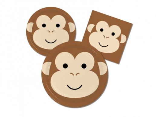 Monkey Large Paper Plates (8pcs)