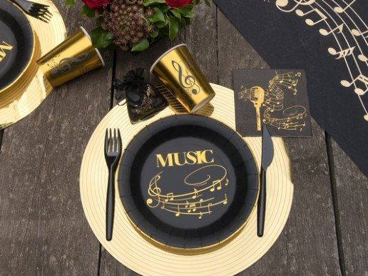 Music Black Large Paper Plates with Gold Print (10pcs)