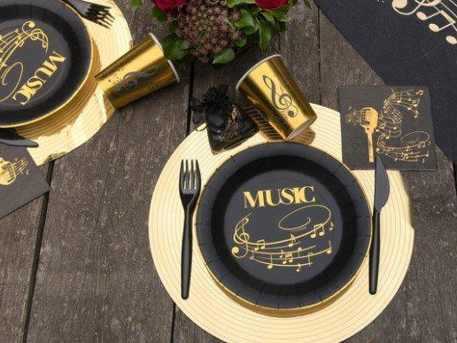 Music Black Beverage Napkins with Gold Foiled Print (20pcs)