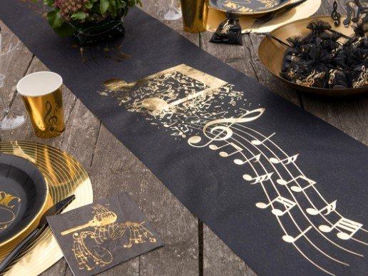 Music Black Fabric Runner with Gold Print (30cm x 5m)