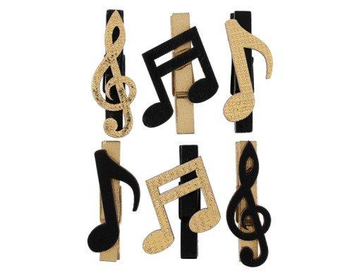 Music Mini Wooden Pegs (6pcs)