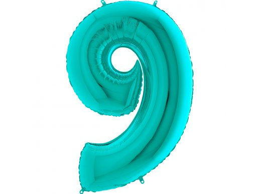 Supershape Balloon Number 9 Mint Green (100cm)