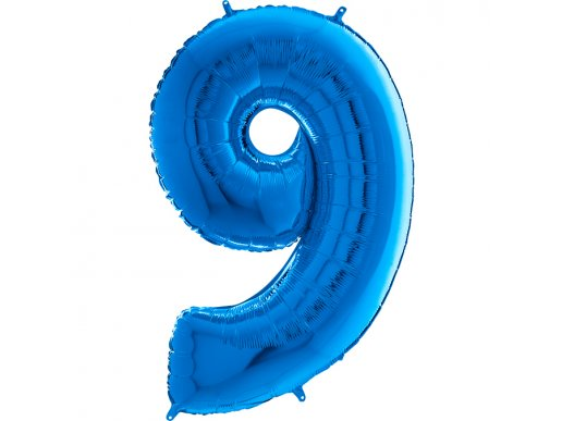 Supershape Balloon Number 9 Blue (100cm)