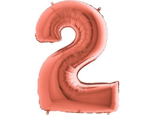 Supershape Μπαλόνι Αριθμός 2 Ροζ Χρυσό (100εκ)
