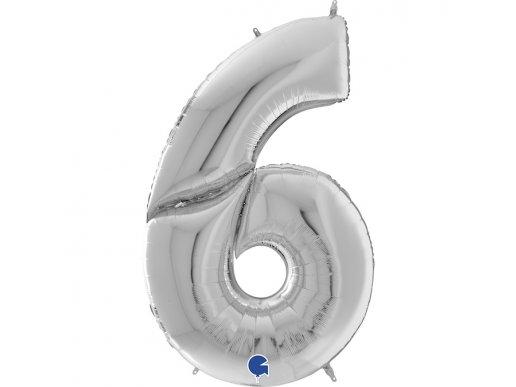 Ασημί Μπαλόνι Γίγας Νούμερο-Αριθμός 6 (163εκ)