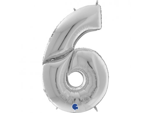 Supershape Balloon Number 6 Six Silver (100cm)