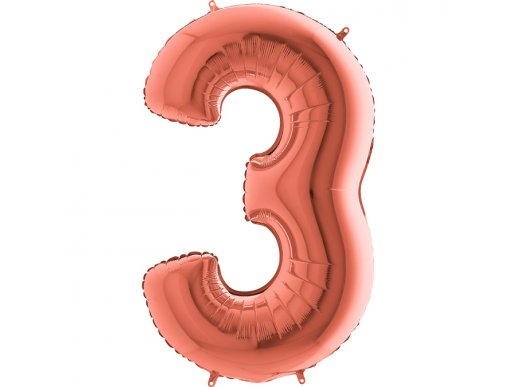 Supershape Μπαλόνι Αριθμός 3 Ροζ Χρυσό (100εκ)