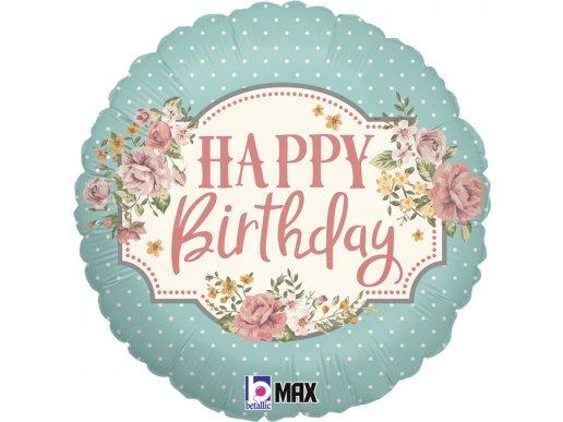 Floral Με Πουά Foil Μπαλόνι Για Γενέθλια Happy Birthday (46εκ)