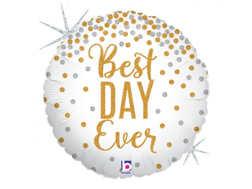 Best Day Ever White and Gold Holographic Balloon Foil