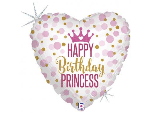 Καρδιά Happy Birthday Princess Ροζ Και Χρυσό Πουά Ολογραφικό Τύπωμα Για Γενέθλια Μπαλόνι Foil