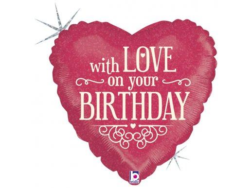 Καρδιά With Love On Your Birthday Για Γενέθλια Ολογραφικό Τύπωμα Μπαλόνι Foil