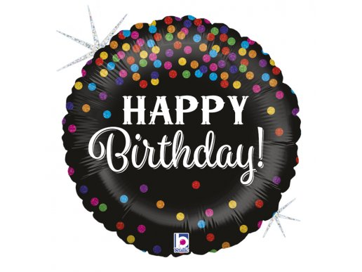Black with Colourful Dots Holographic Design Happy Birthday Balloon Foil
