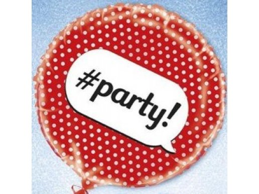Foil Balloon for Party with Red Dots and hashtag Party