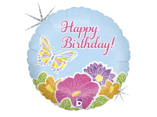 Butterfly with Flowers Happy Birthday Balloon Foil with Holographic Print