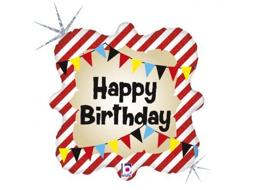 Τσίρκο Για Γενέθλια Happy Birthday Ολογραφικό Τύπωμα Μπαλόνι Foil