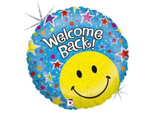 Welcome Back Foil Balloon with Colourful Stars and Emoji smile