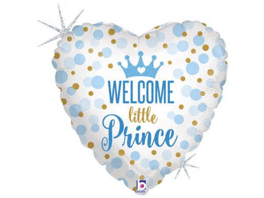 Welcome Little Prince Holographic Foil Balloon