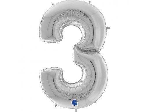 Ασημί Γίγας Μπαλόνι Νούμερο-Αριθμός 3 (163εκ)