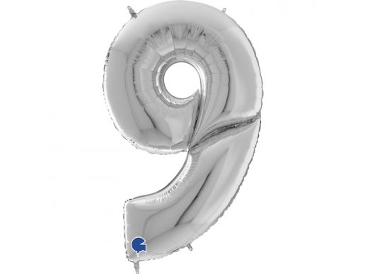 Giant Balloon Silver Number 9 Nine