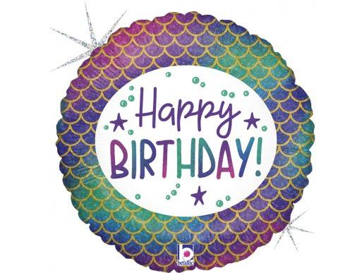 Γοργόνα Foil Μπαλόνι Για Γενέθλια Happy Birthday Με Ολογραφικό Τύπωμα