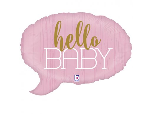 Hello Baby Pink Foil Balloon