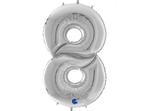 Ασημί Μπαλόνι Γίγας Νούμερο-Αριθμός 8 (163εκ)