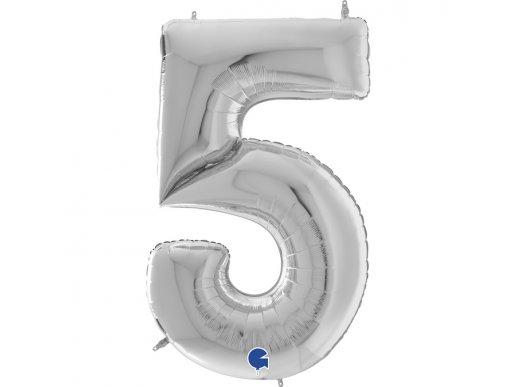 Ασημί Μπαλόνι Γίγας Νούμερο-Αριθμός 5 (163εκ)