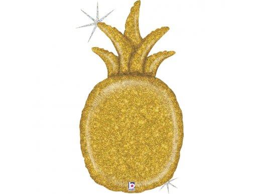 Ανανάς Χρυσό Με Ολογραφικό Τύπωμα Μπαλόνι Supershape