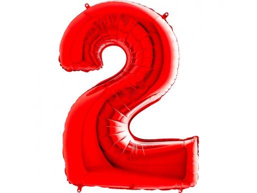 Κόκκινο Μπαλόνι Supershape Αριθμός-Νούμερο 2 (100εκ)