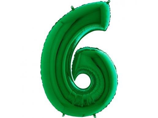 Πράσινο Μπαλόνι Supershape Αριθμός-Νούμερο 6 (100εκ)