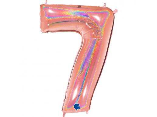 Rose Gold Holographic Supershape Balloon Number 7 (100cm)