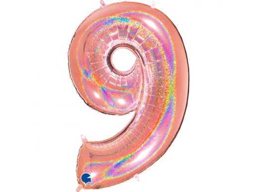 Rose Gold Holographic Supershape Balloon Number 9 Nine