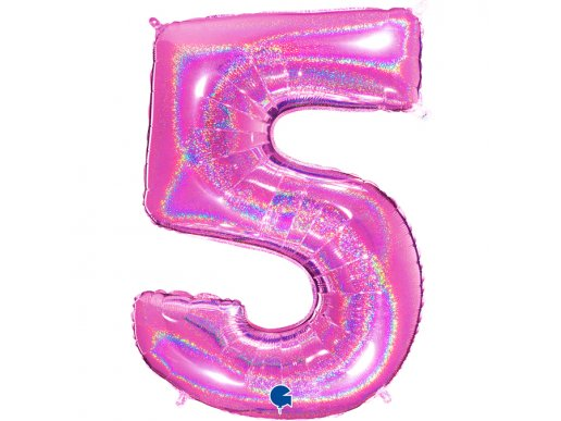 Fuxia Holographic Supershape Balloon Number 5 (100cm)