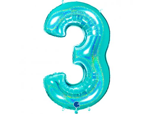 Mint Holographic Supershape Balloon Number 3 (100cm)