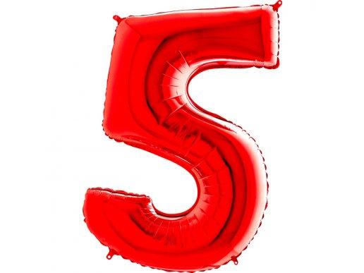 Κόκκινο Μπαλόνι Supershape Αριθμός-Νούμερο 5 (100εκ)