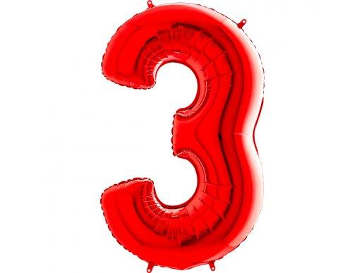 Κόκκινο Μπαλόνι Supershape Αριθμός-Νούμερο 3 (100εκ)