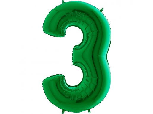 Πράσινο Μπαλόνι Supershape Αριθμός-Νούμερο 3 (100εκ)