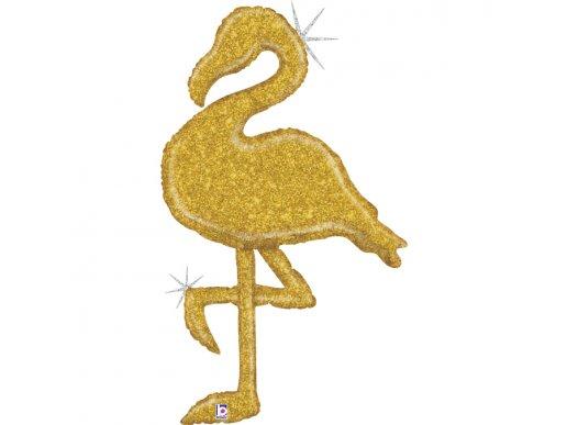 Flamingo Gold Holographic Design Balloon Supershape