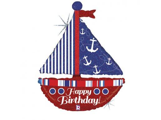 Καράβι Για Γενέθλια - Happy Birthday Με Ολογραφικό Τύπωμα Supershape Μπαλόνι