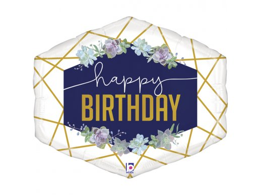 Scripted Marble Blue and Gold Happy Birthday Balloon Supershape