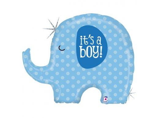 Μικρό Ελεφαντάκι It's A Boy Μπλε Ολογραφικό Τύπωμα Μπαλόνι Supershape