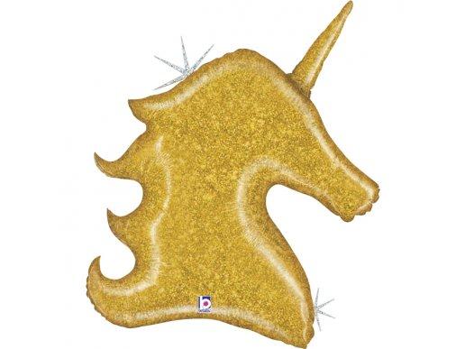Unicorn Gold Holographic Design Balloon Supershape