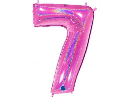 Φούξια Με Ολογραφικό Τύπωμα Μπαλόνι Supershape Αριθμός-Νούμερο 7 (100εκ)