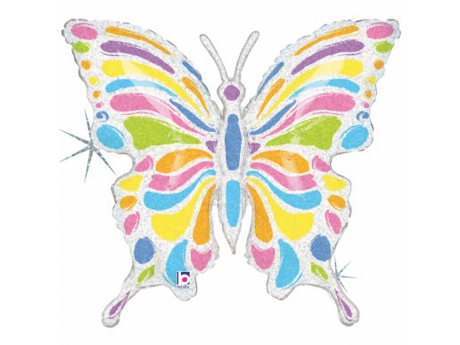 Butterfly Colourful Holographic Design Balloon Supershape
