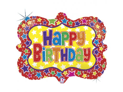Colourful Stars Happy Birthday Holographic Design Balloon Supershape