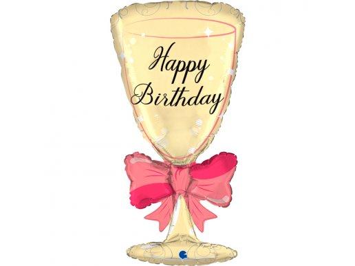 Ποτήρι Χρυσό Supershape Μπαλόνι Για Γενέθλια Happy Birthday
